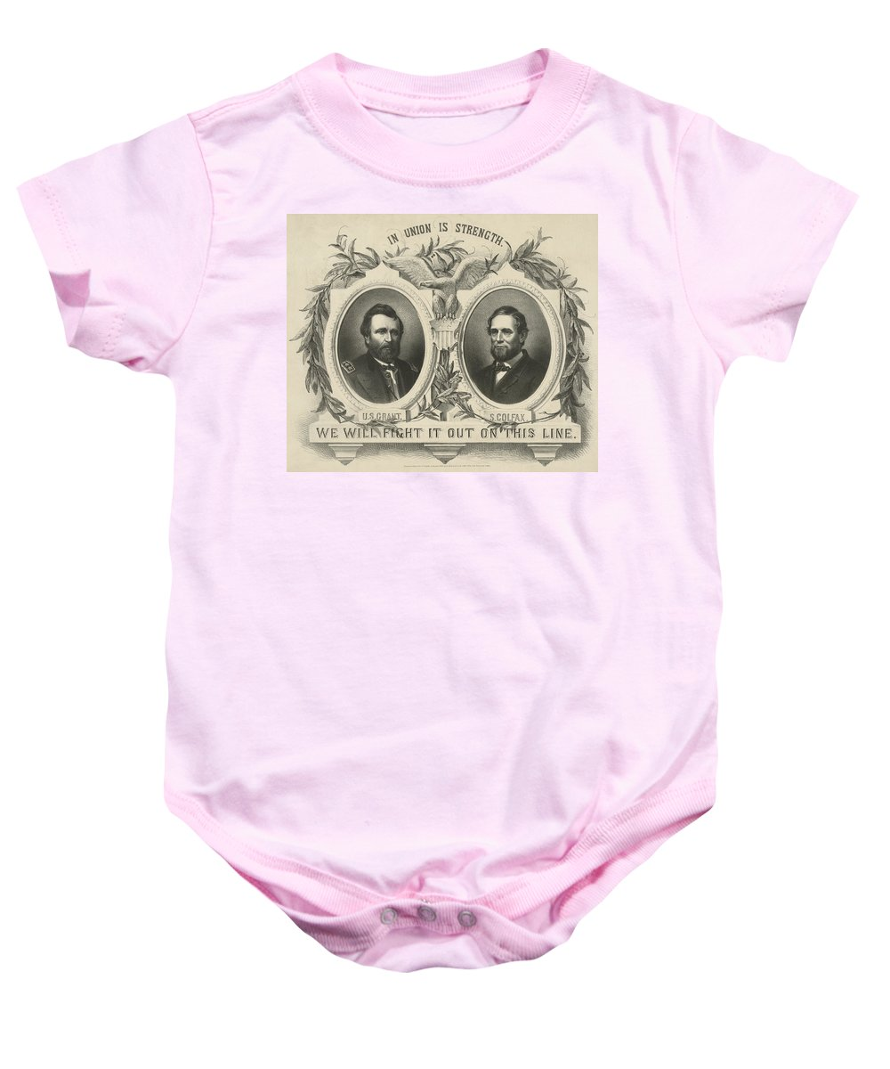 Republican Baby Onesie featuring the photograph Ulyssess S Grant And Schuyler Colfax Republican Campaign Poster by International Images