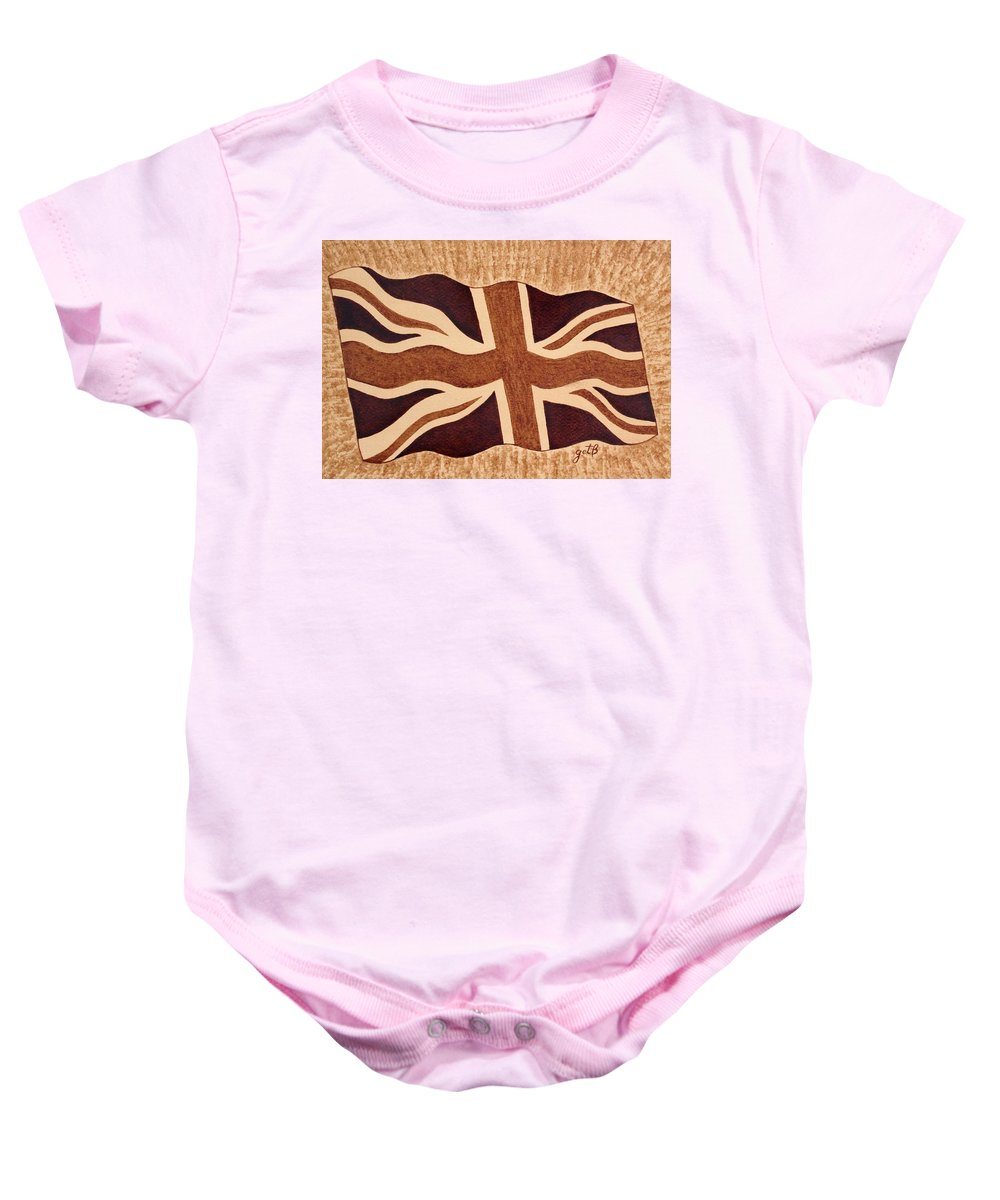 British Flag Baby Onesie featuring the painting United Kingdom Flag Coffee Painting by Georgeta Blanaru
