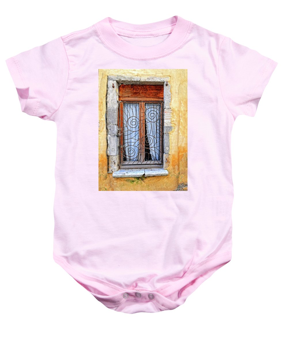 Window Baby Onesie featuring the photograph Window Provence France by Dave Mills