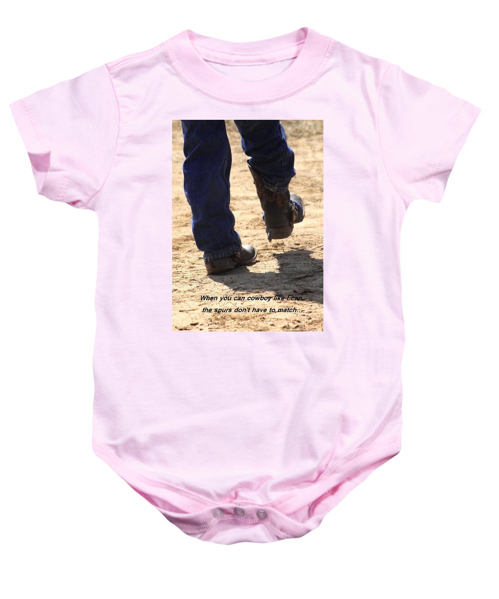 Spurs Baby Onesie featuring the photograph Young Cowboy With Spurs by Travis Truelove