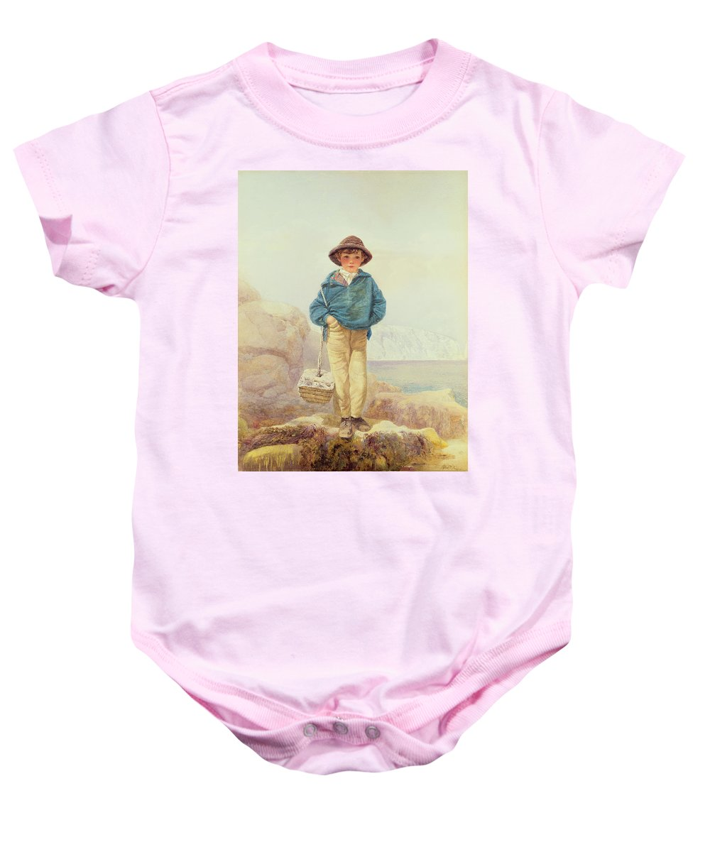 Young England - A Fisher Boy Baby Onesie featuring the painting Young England - A Fisher Boy by Alfred Downing Fripp