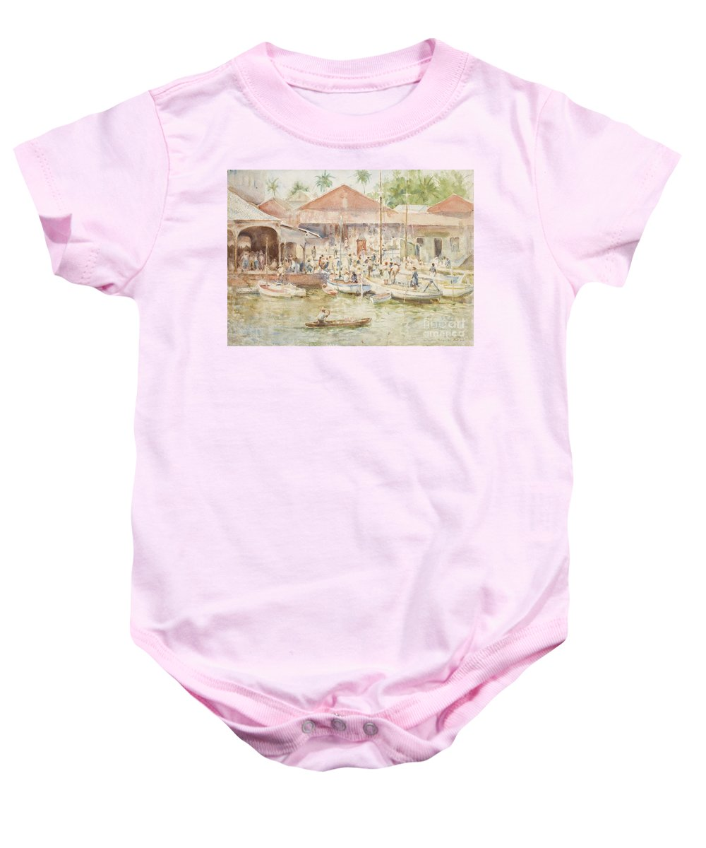 Central America; Port; Fish Market; Boat; Boats; Fishermen; Unloading; Catch; Fresh; Bustle; Busy; Commerce; South American; Central American; Newlyn School Baby Onesie featuring the painting The Market Belize British Honduras by Henry Scott Tuke