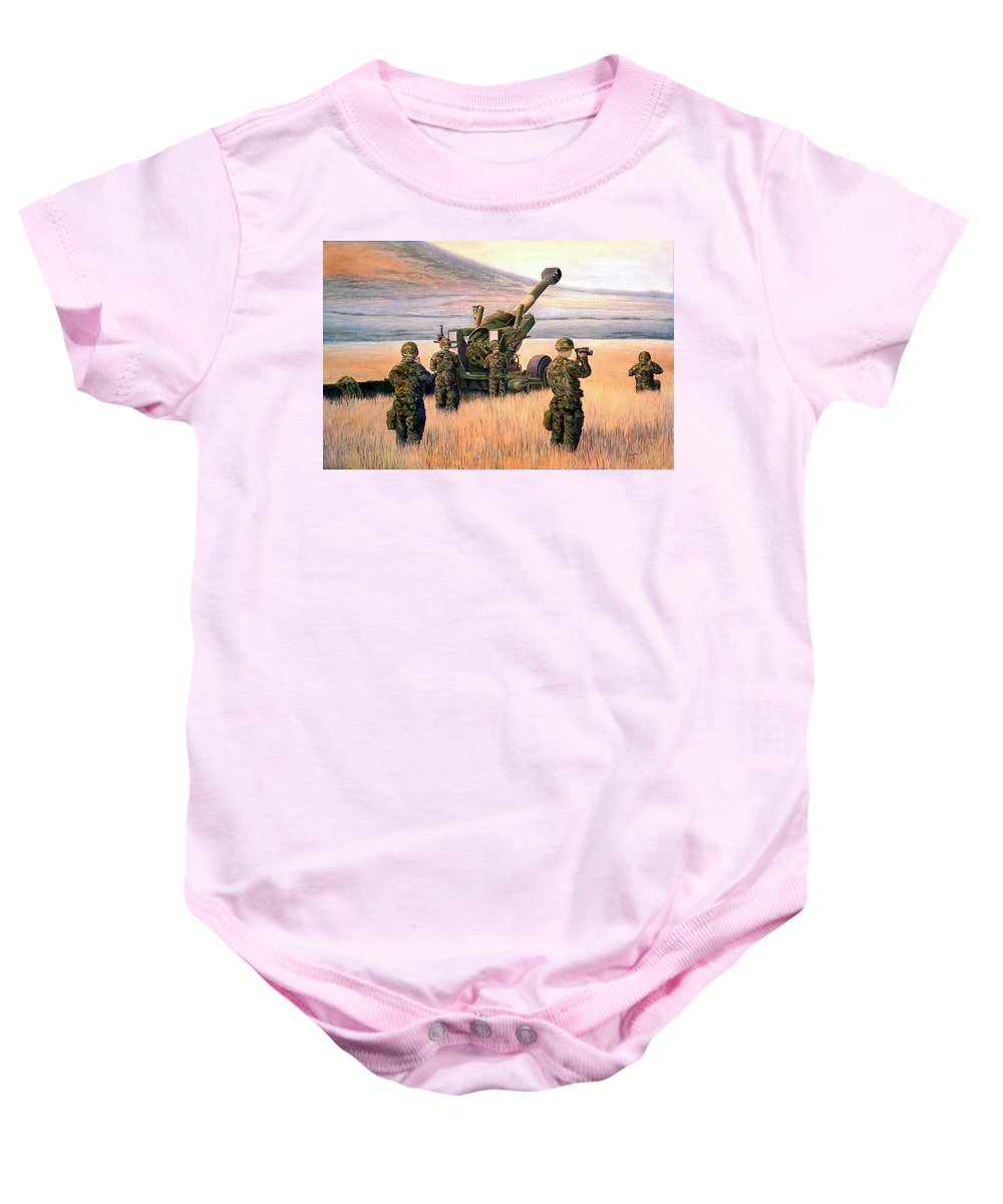 Signed And Numbered Prints Of The Montana National Guard Baby Onesie featuring the print 1-190th Artillery by Scott Robertson