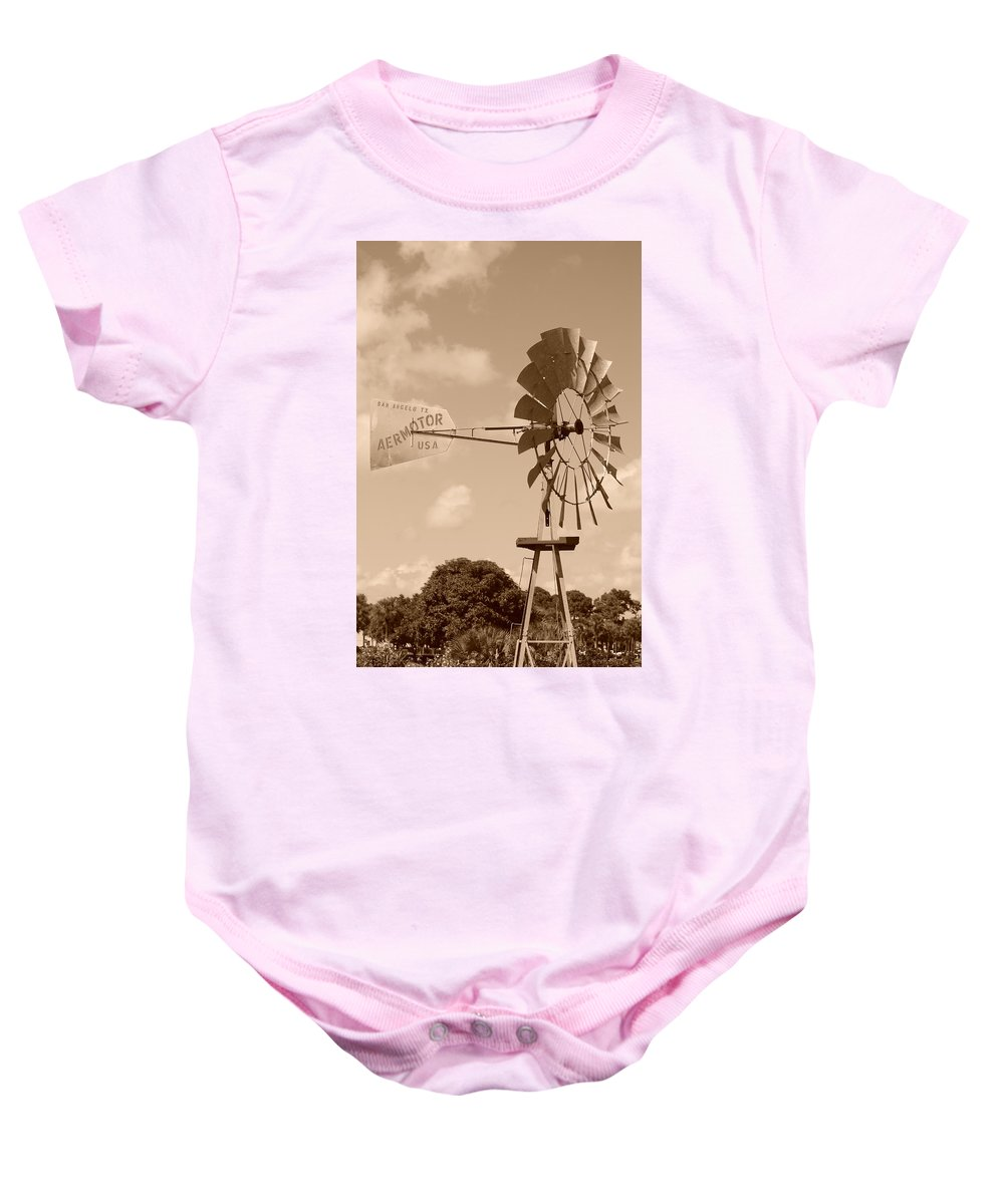 Sepia Baby Onesie featuring the photograph Aermotor Windmill by Rob Hans