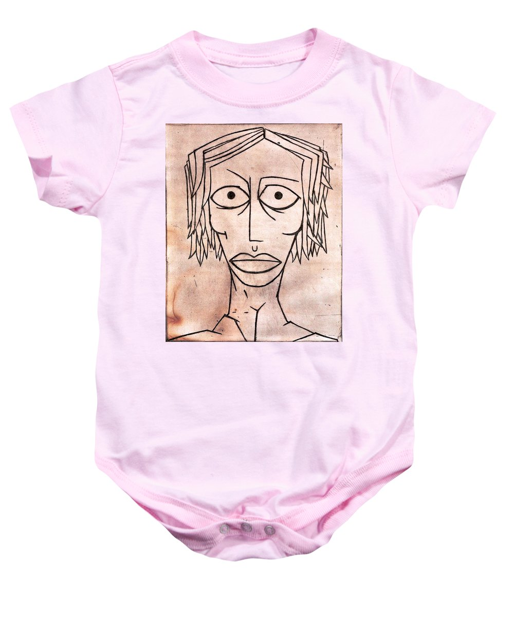 Clay Baby Onesie featuring the painting amy by Thomas Valentine