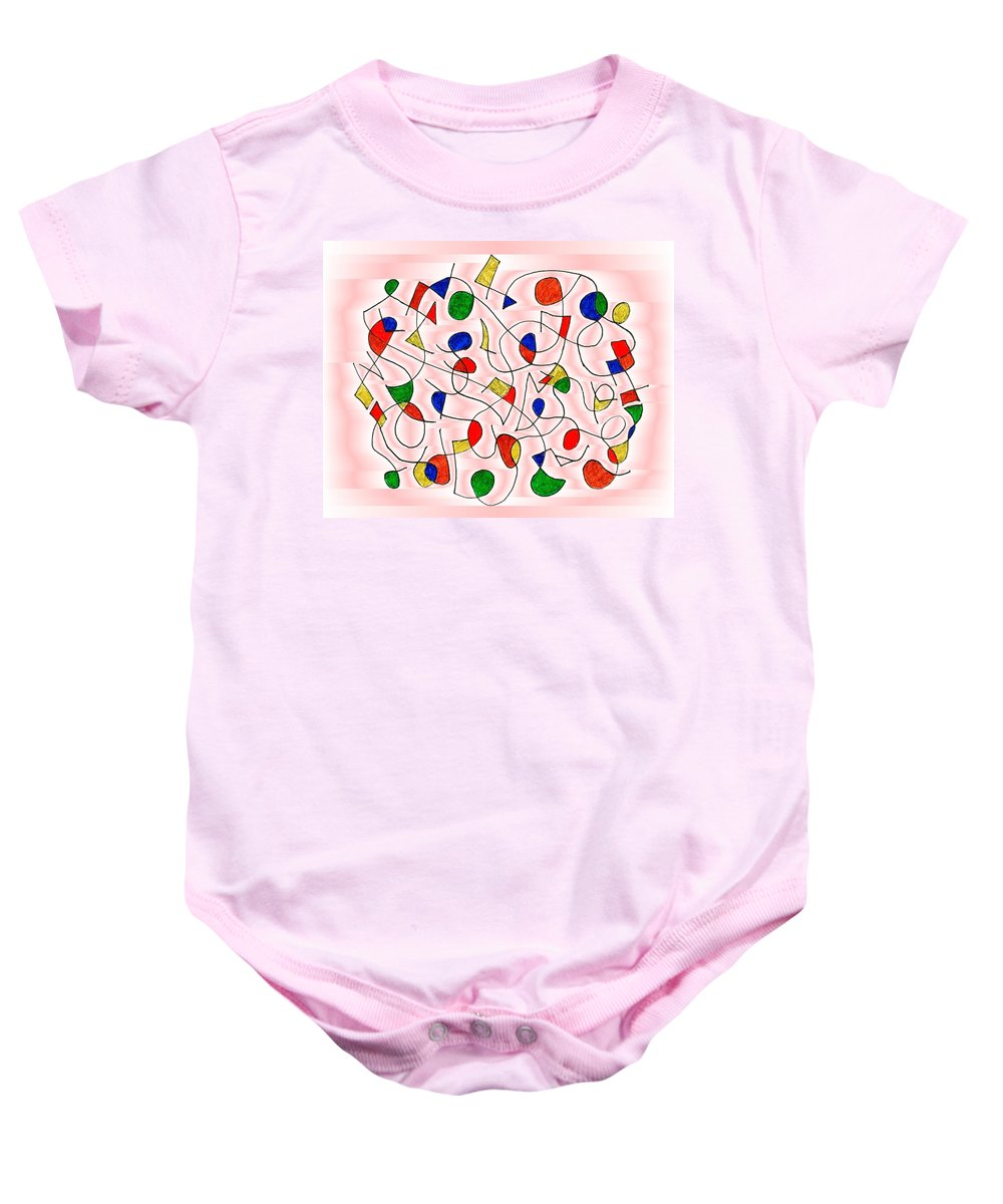 Child Art Boy Girl Bedroom Abstract Clown Surrealism Humor Circus Children Baby Onesie featuring the digital art Clown Memory Cells Pink by Mark Sellers