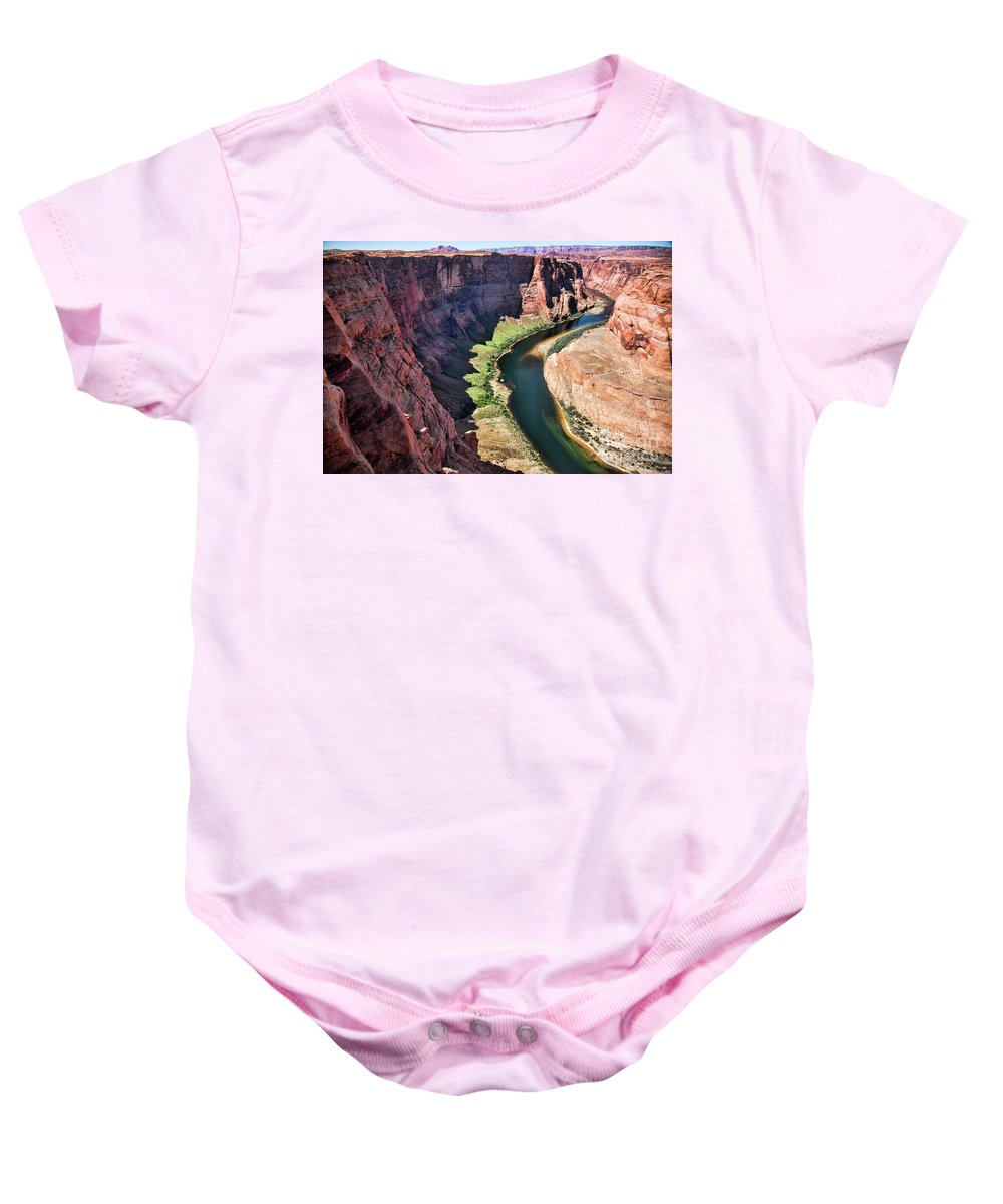 Horseshoe Bend Baby Onesie featuring the photograph Colorado River Flows Around Horseshoe Bend by Chuck Kuhn
