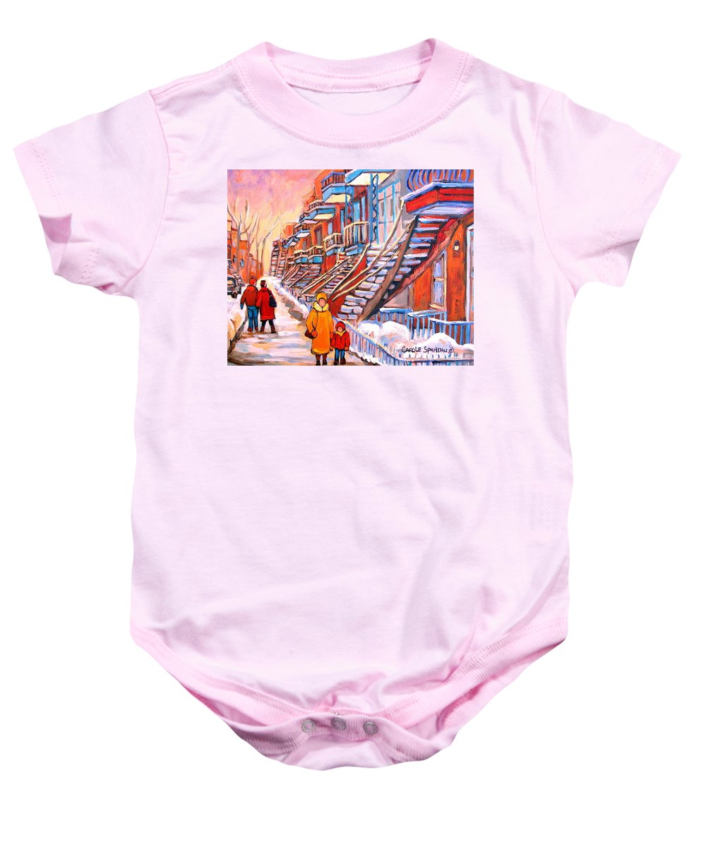 Debullion Street Winter Walk Baby Onesie featuring the painting Debullion Street Winter Walk by Carole Spandau