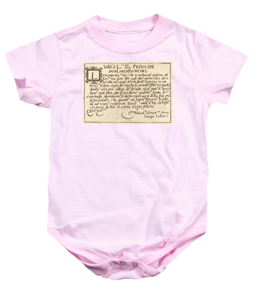 Baby Onesie featuring the drawing Dedication To Don Lorenzo De' Medici by Jacques Callot