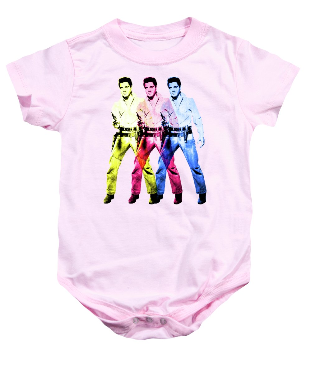 Elvis Baby Onesie featuring the digital art Flaming Star by Gary Grayson