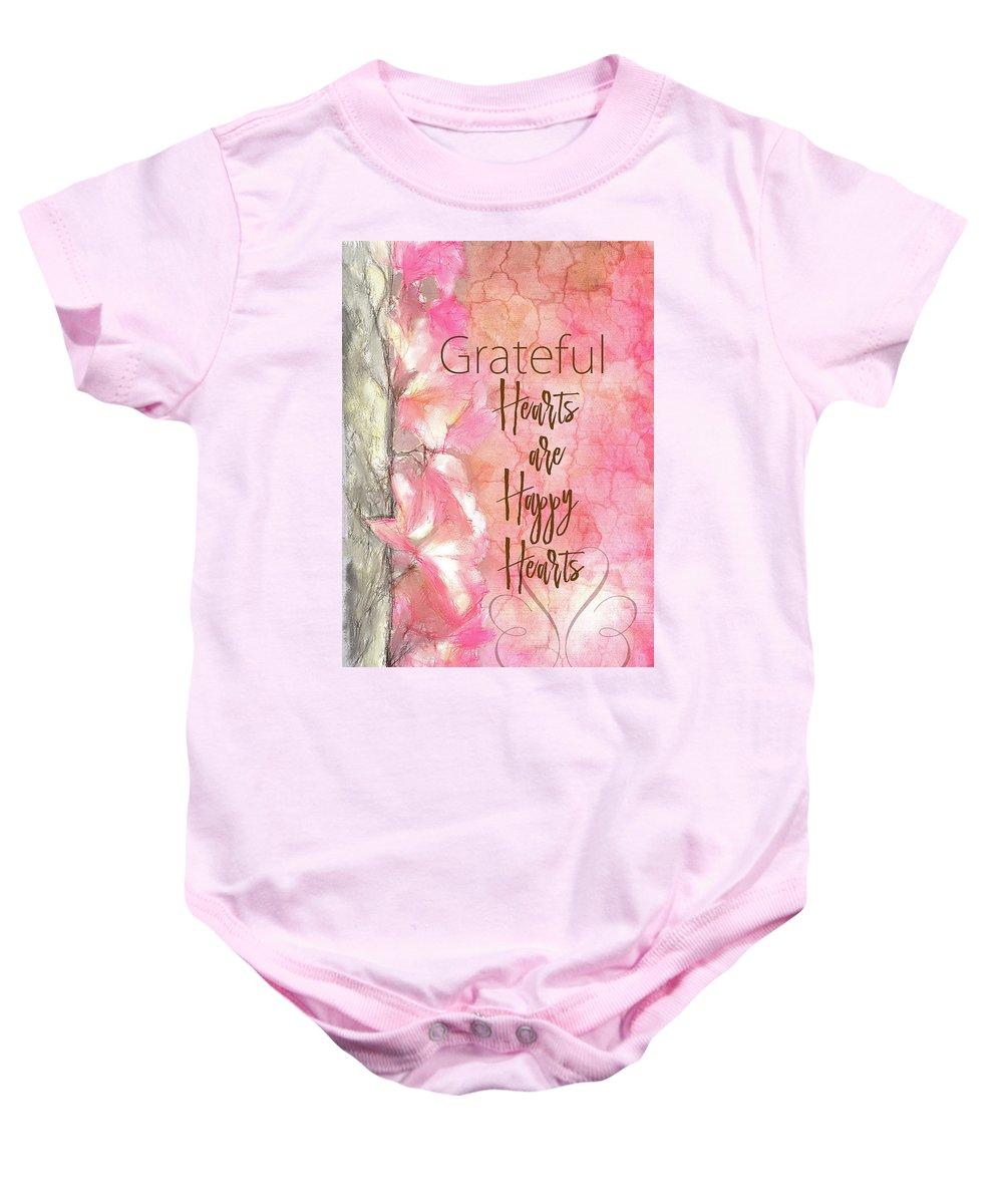 Sentiment Baby Onesie featuring the digital art Grateful Hearts by Ramona Murdock