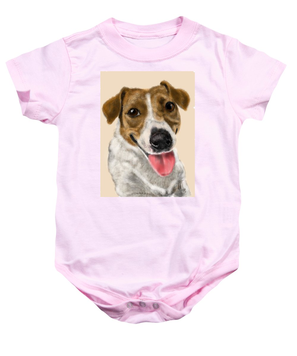 Animals Baby Onesie featuring the painting Happy Dog by Lois Ivancin Tavaf