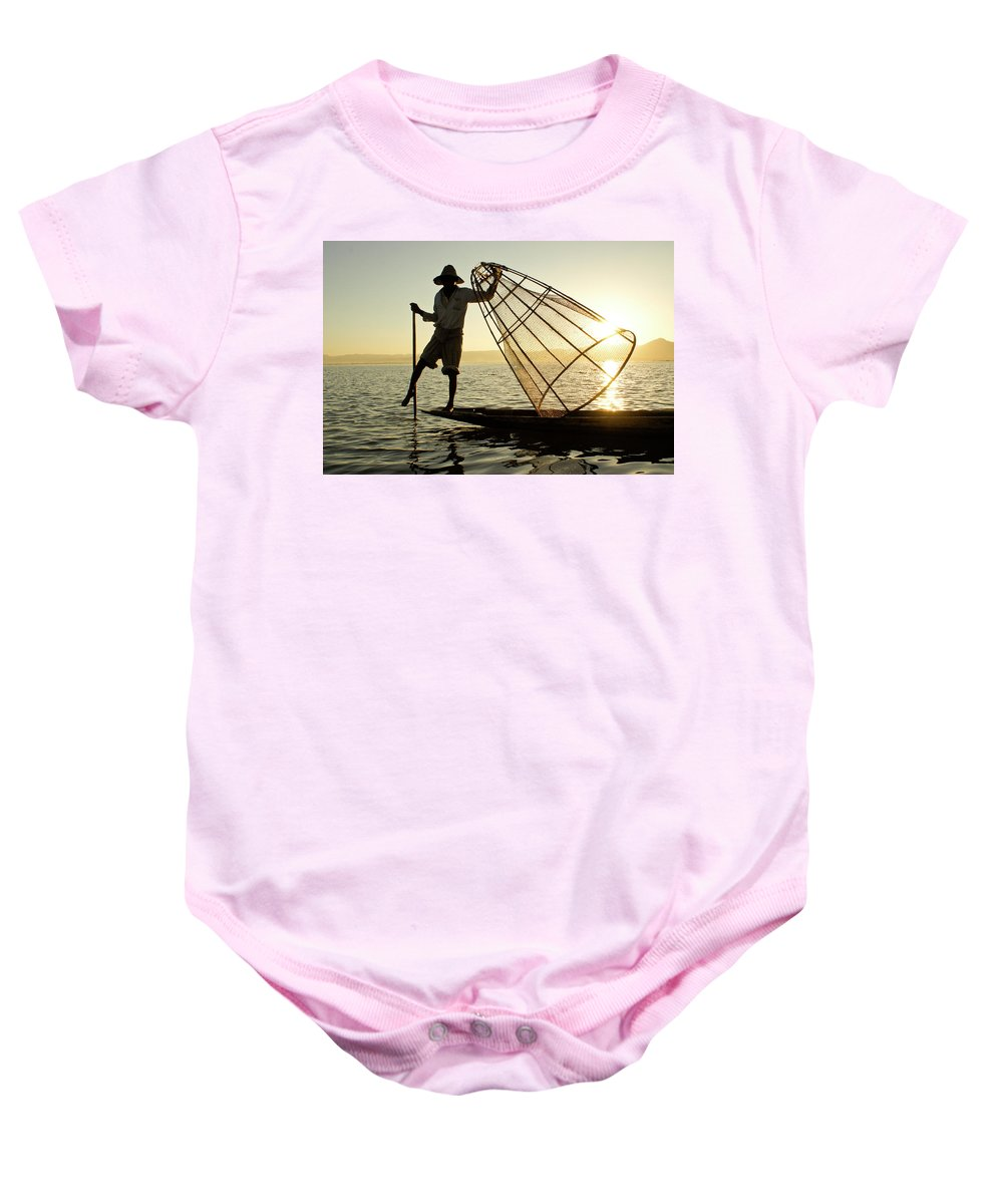 Asia Baby Onesie featuring the photograph Inle Lake Fisherman by Michele Burgess