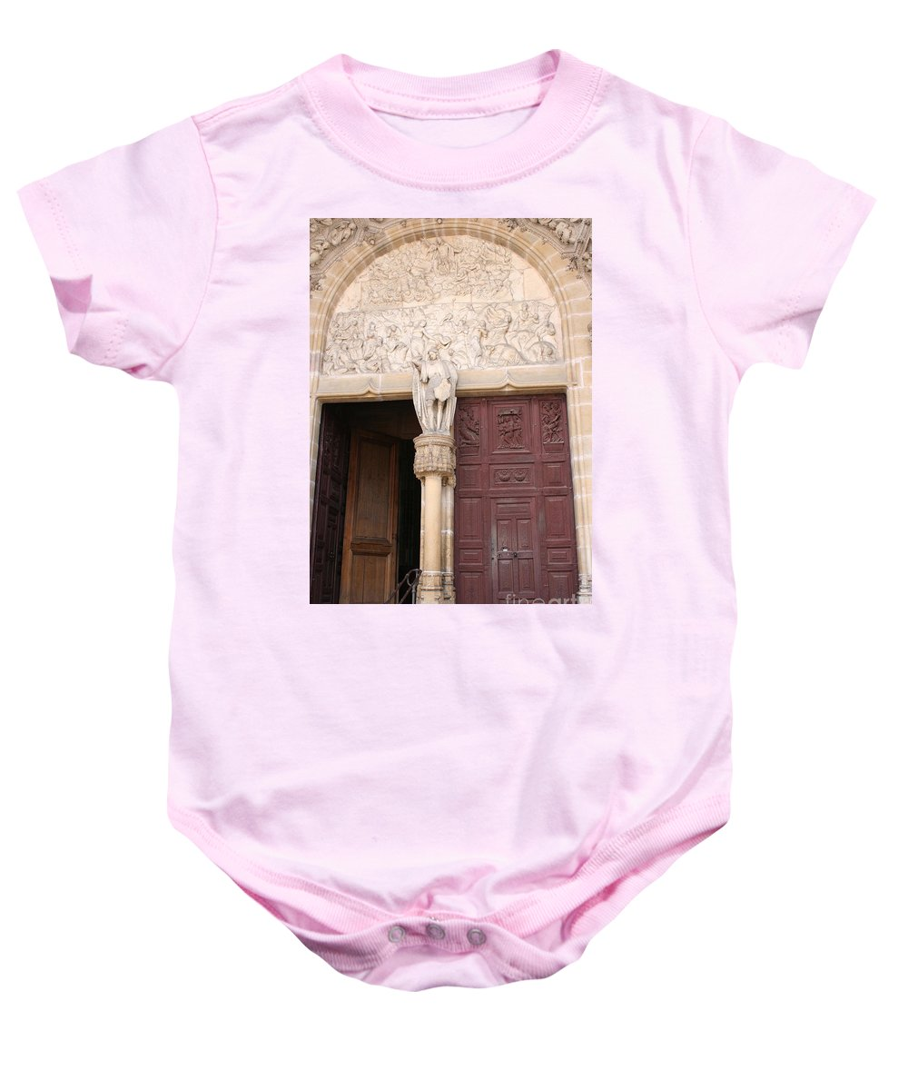 Door Baby Onesie featuring the photograph Old Church Door by Christiane Schulze Art And Photography
