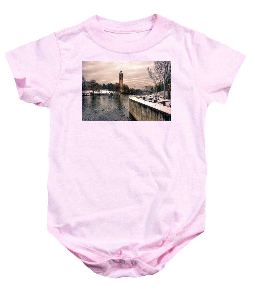 River Front Park Baby Onesie featuring the photograph River Front Park Spokane by Lee Santa