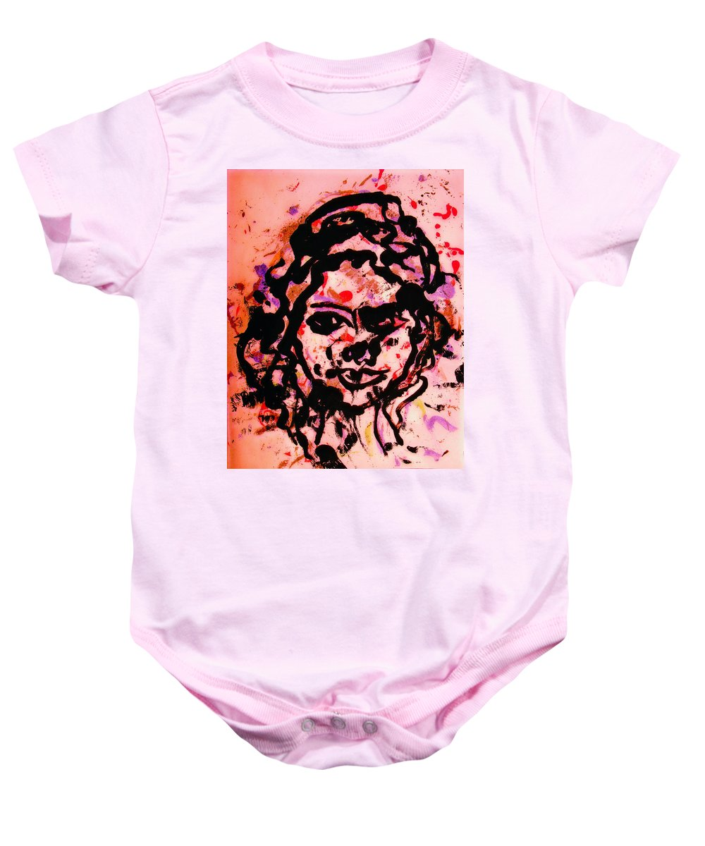 Portrait Baby Onesie featuring the painting Self Portrait by Natalie Holland