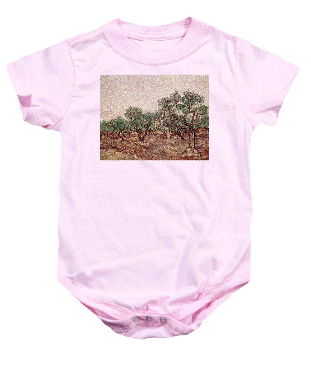 The Baby Onesie featuring the painting The Olive Pickers by Vincent van Gogh