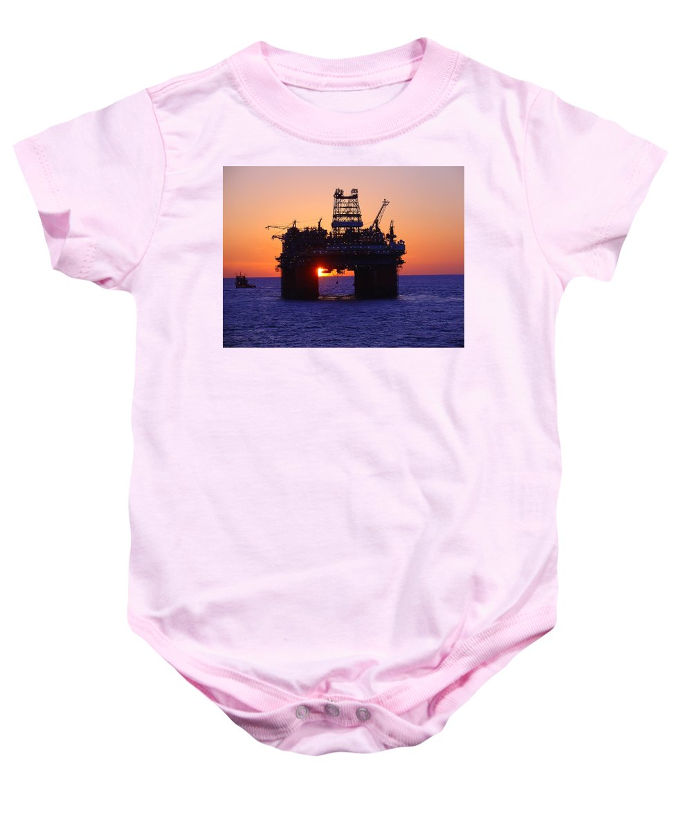 Thunder Horse Baby Onesie featuring the photograph Thunder Horse At Sunset by Charles and Melisa Morrison