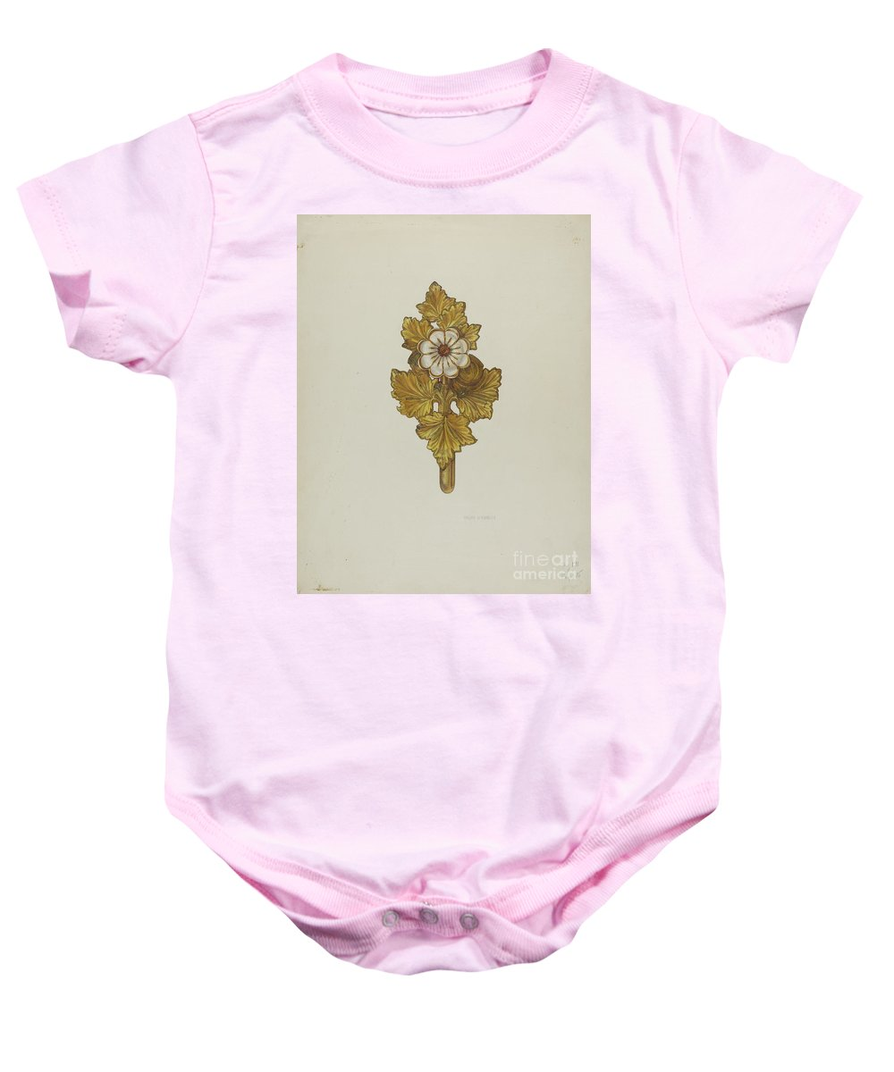 Baby Onesie featuring the drawing Tie-back by Helen Bronson