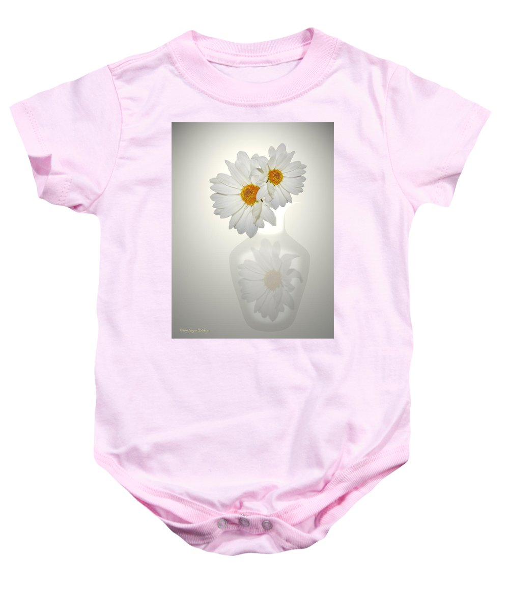Daisies Baby Onesie featuring the photograph White On White Daisies by Joyce Dickens
