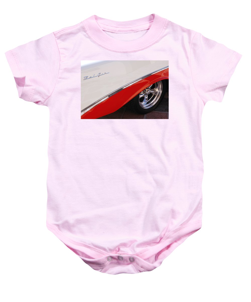 Chevy Baby Onesie featuring the photograph 1956 Chevrolet Belair Convertible Wheel by Jill Reger