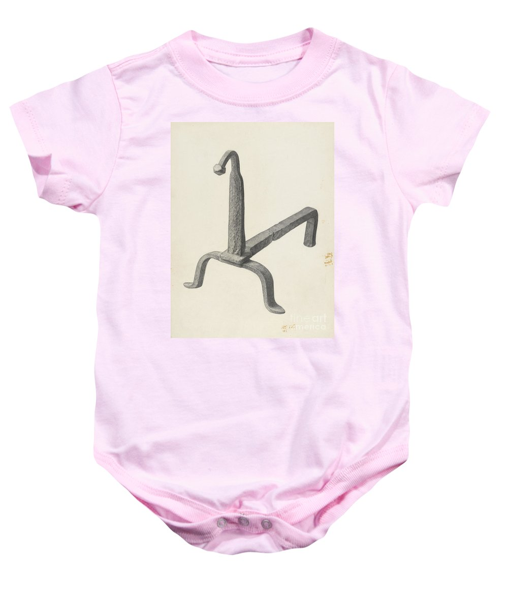 Baby Onesie featuring the drawing Andiron (one Of Pair) by Jack Staloff