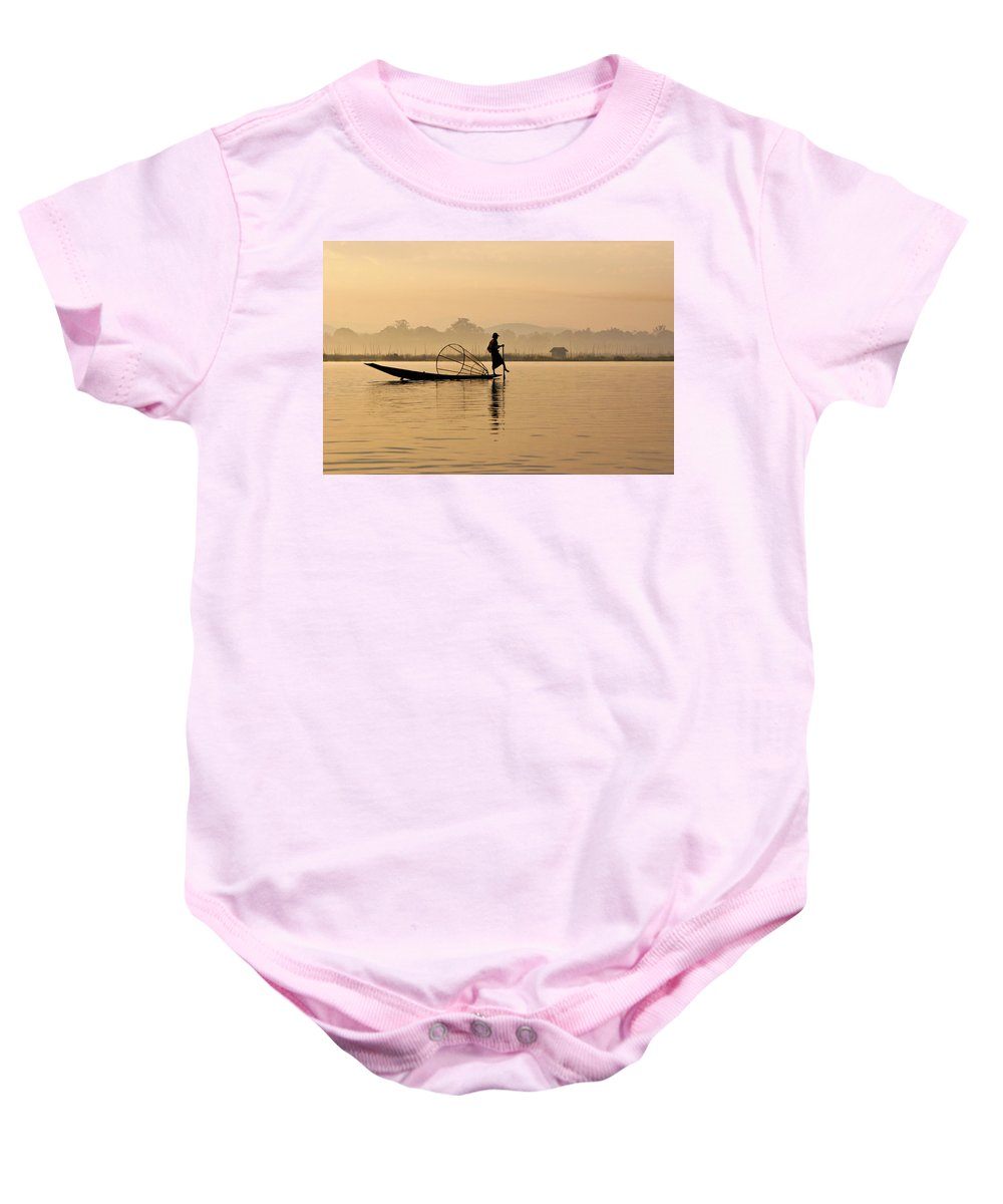 Asia Baby Onesie featuring the photograph Dawn On Inle Lake by Michele Burgess