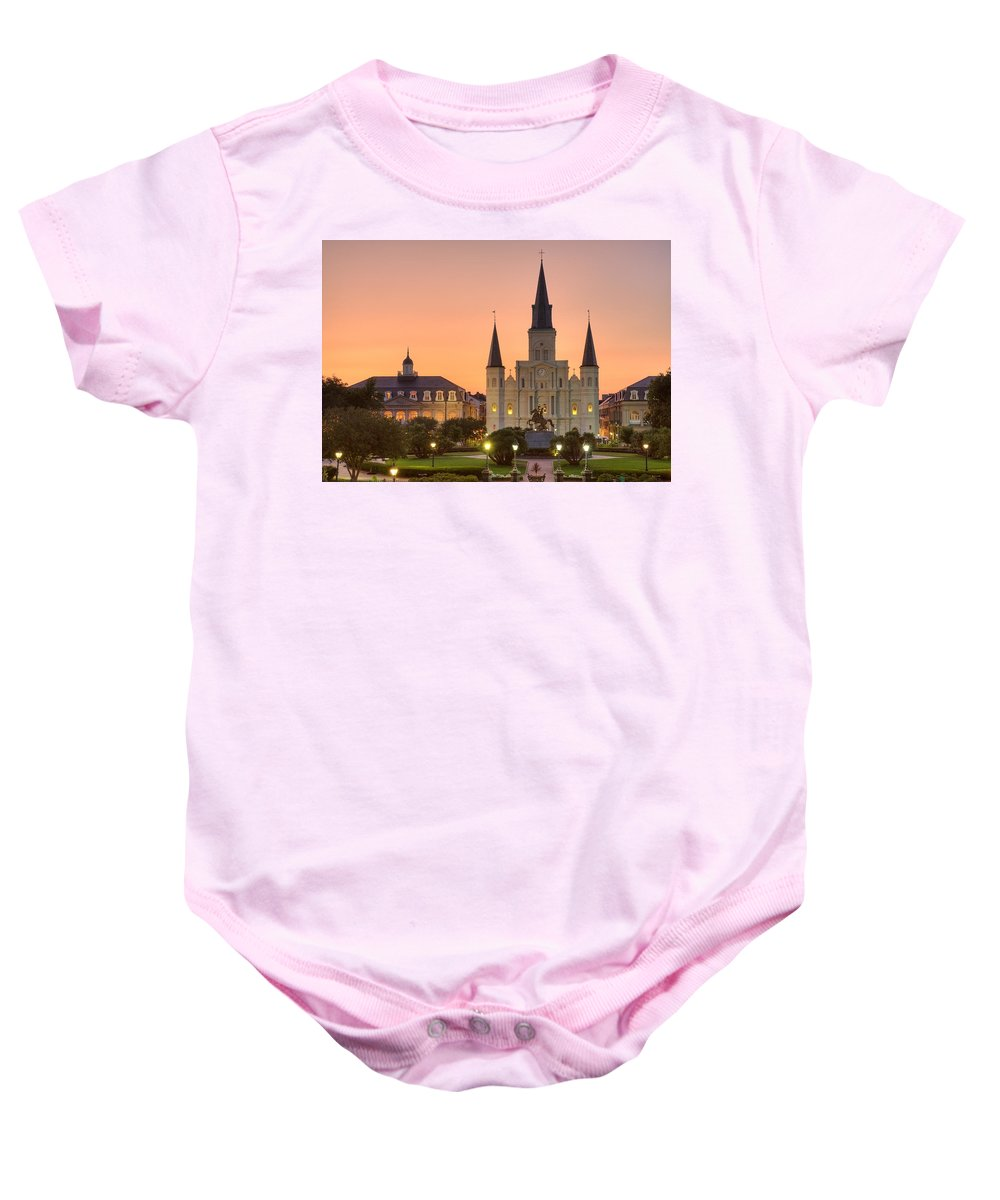 New Orleans Baby Onesie featuring the photograph New Orleans St Louis Cathedral by Marie-Dominique Verdier