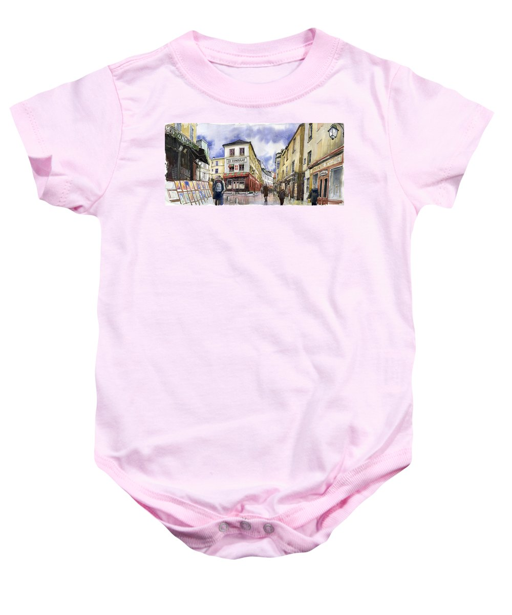 Watercolour Baby Onesie featuring the painting Paris Montmartre by Yuriy Shevchuk