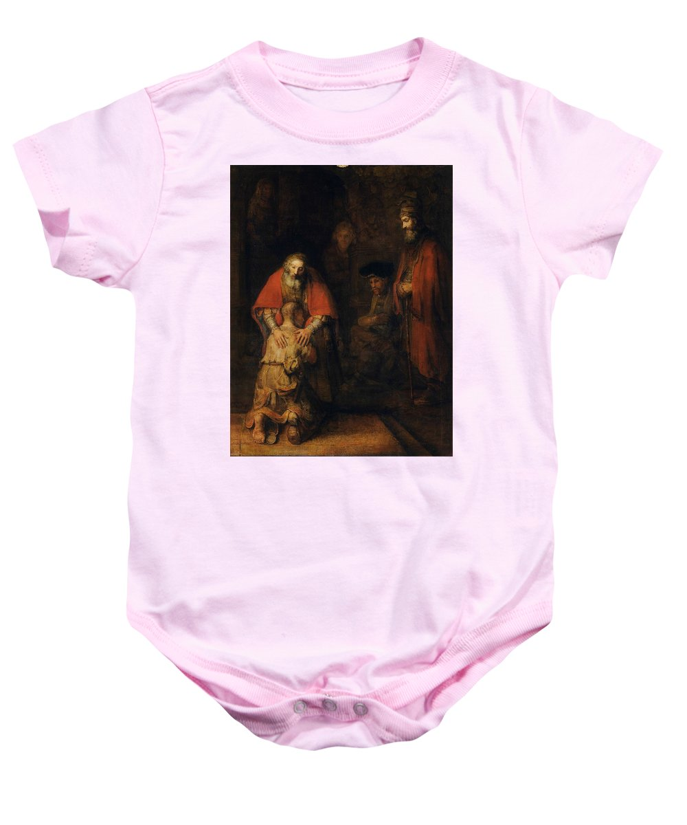 Rembrandt Van Rijn Baby Onesie featuring the drawing Return Of The Prodigal Son by Rembrandt Van Rijn