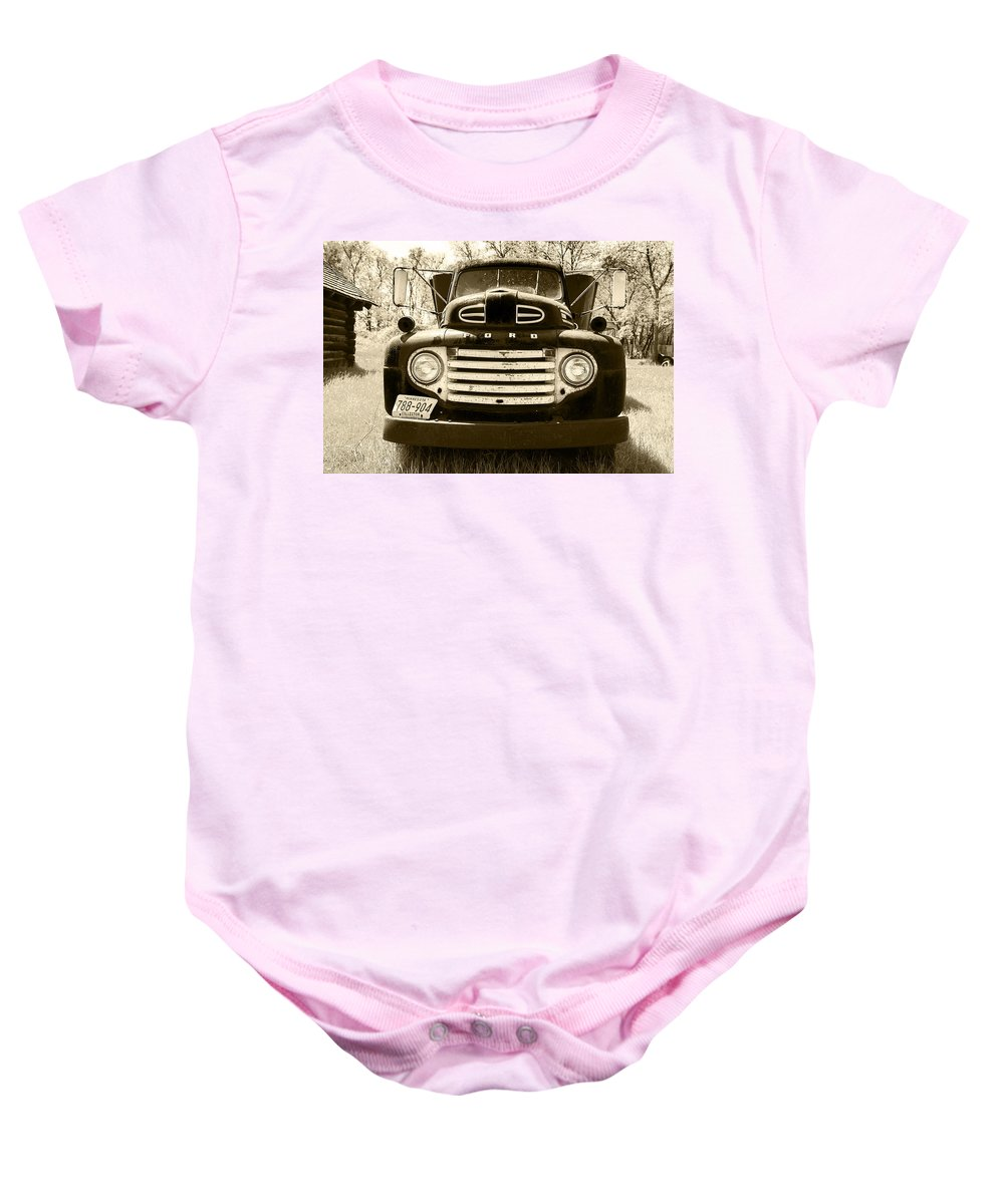 Tinted Baby Onesie featuring the photograph 1949 Ford Truck by Donald Erickson
