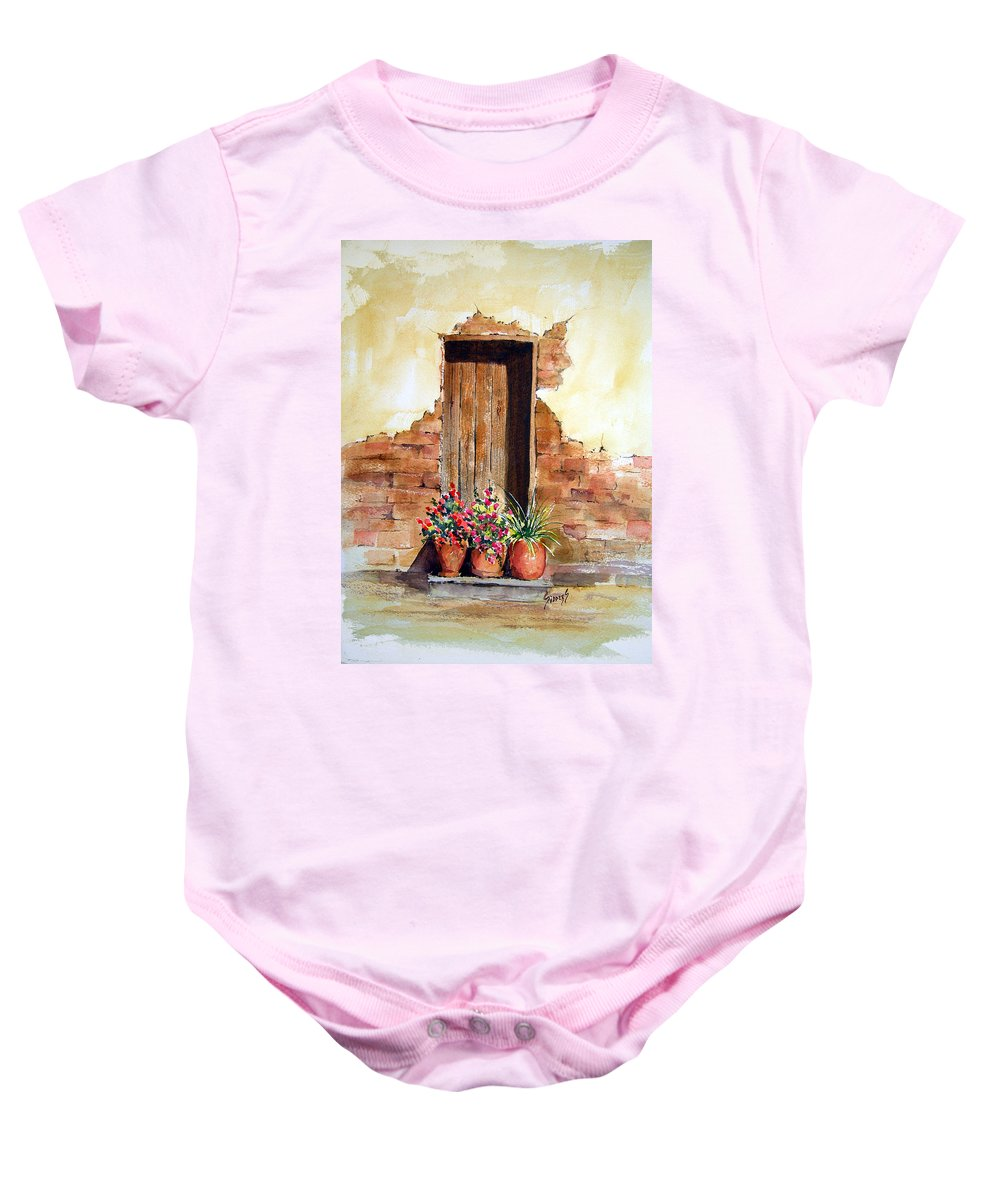 Door Baby Onesie featuring the painting Door With Pots by Sam Sidders