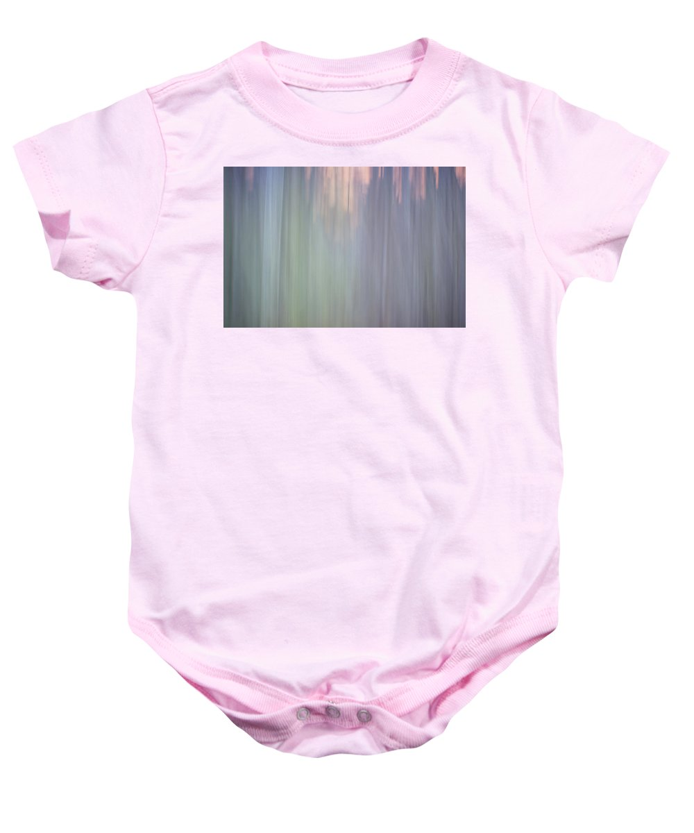 Abstract Baby Onesie featuring the photograph Abstract Digital Painting Of A Thick And Heavy Wooded Forest At by Alex Grichenko