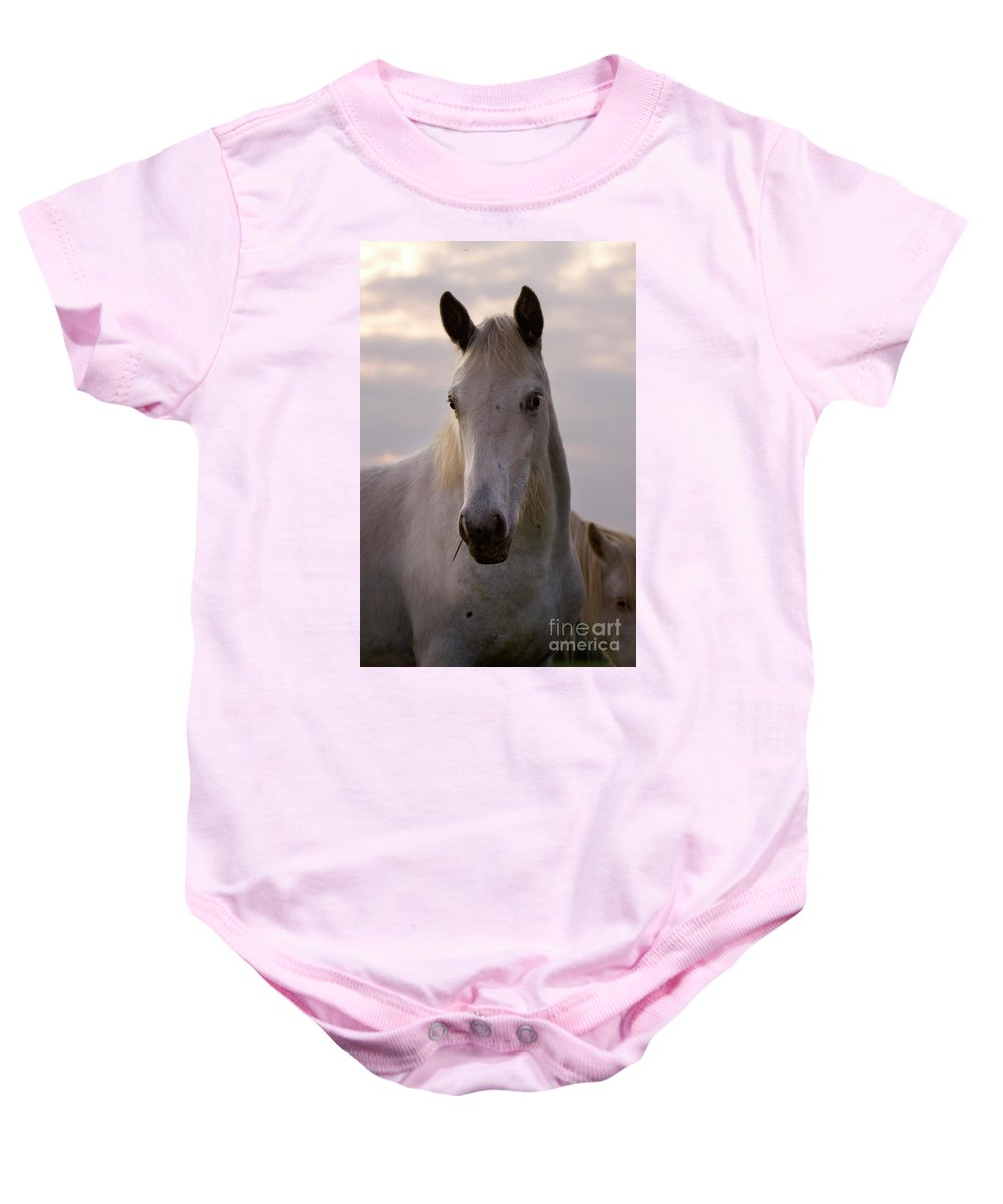 Horse Baby Onesie featuring the photograph White Horse by Angel Ciesniarska
