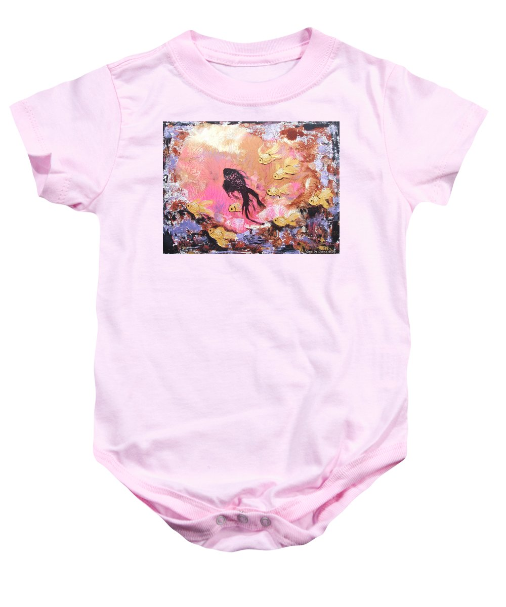 Fish Baby Onesie featuring the painting 8 Gold Fish by Gina De Gorna
