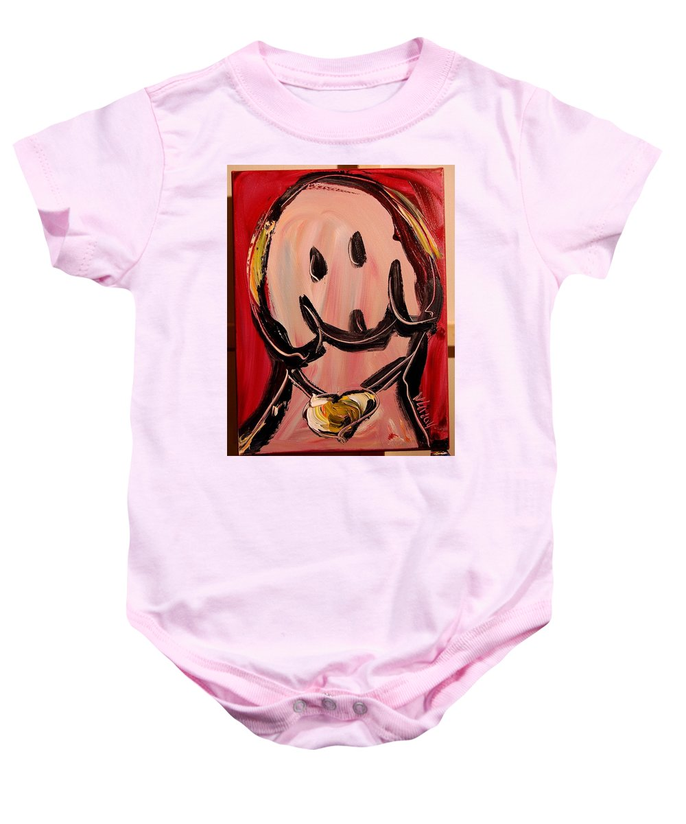 Impressionist Framed Prints Baby Onesie featuring the mixed media DOG by Mark Kazav