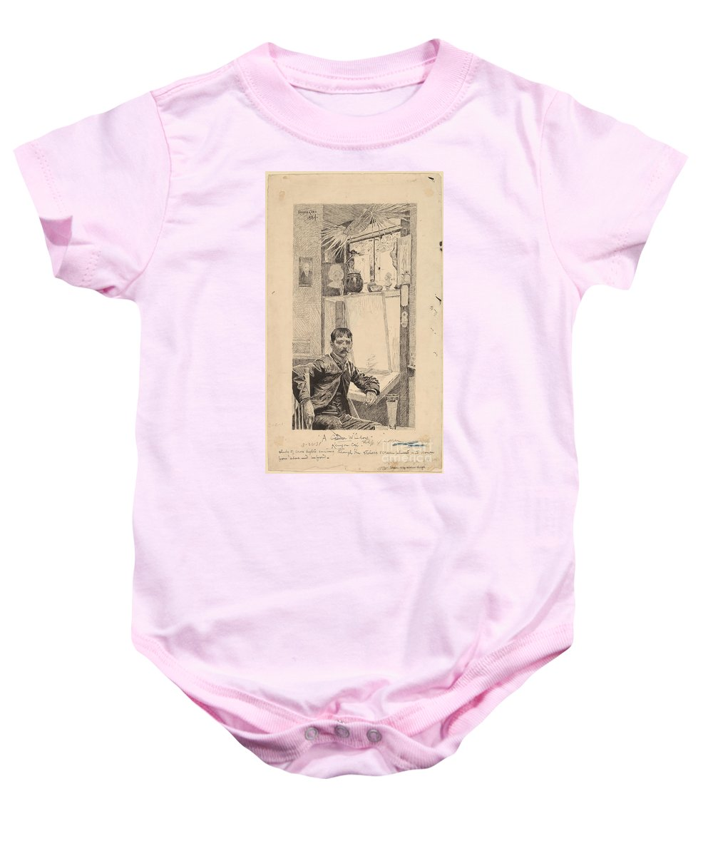 Baby Onesie featuring the drawing A Corner Window, Will Low by Kenyon Cox