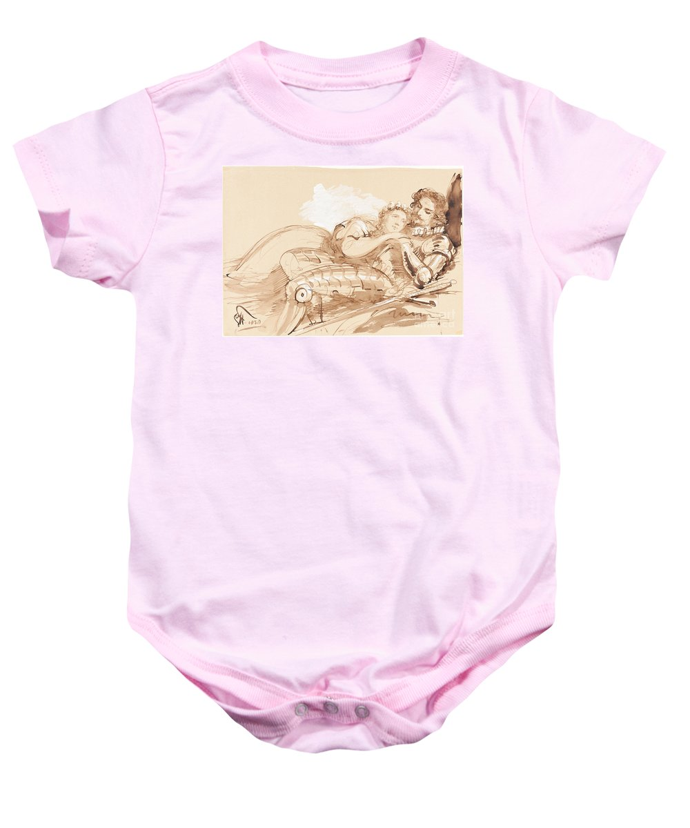 Baby Onesie featuring the drawing A Maiden Embraced By A Knight In Armor by Sir George Hayter