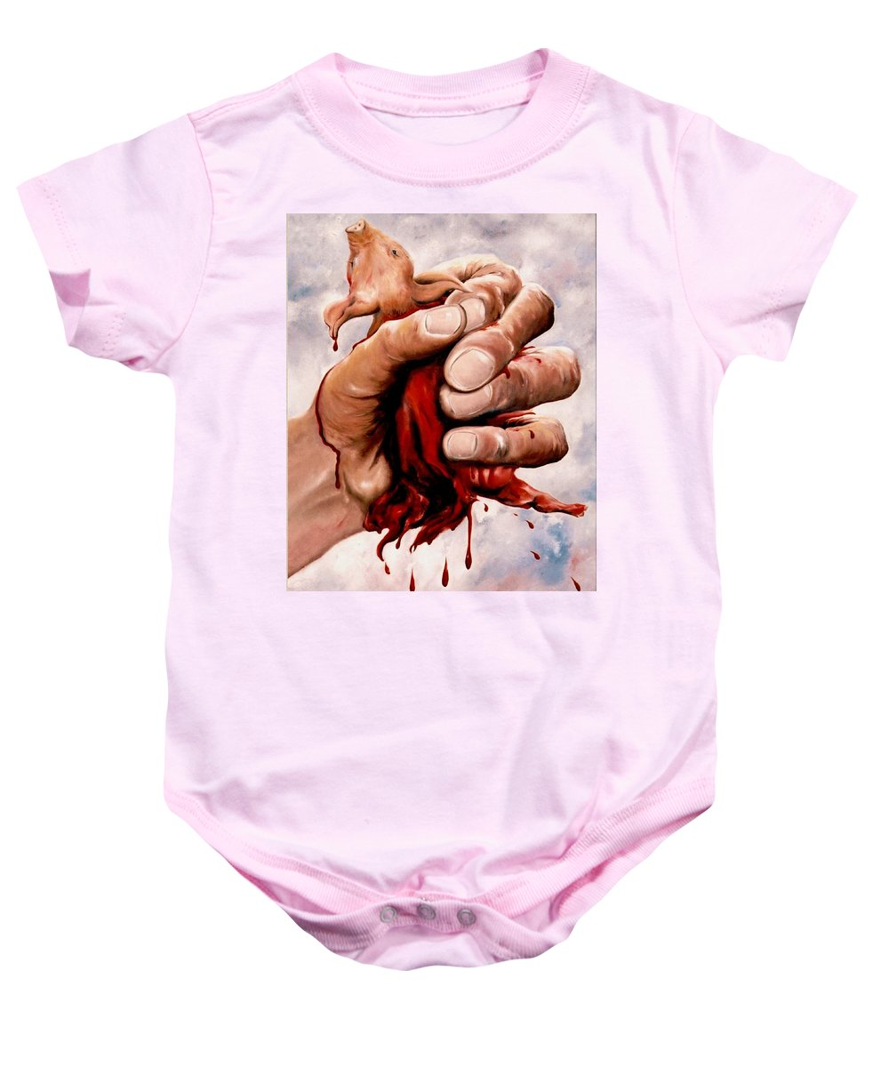 Surreal Baby Onesie featuring the painting A Pigs Life by Mark Cawood
