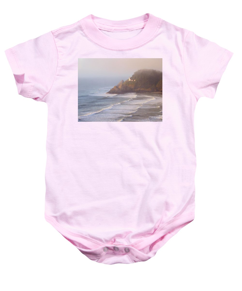 Oregon Coast Baby Onesie featuring the photograph A Quiet Place by Deborah Crew-Johnson