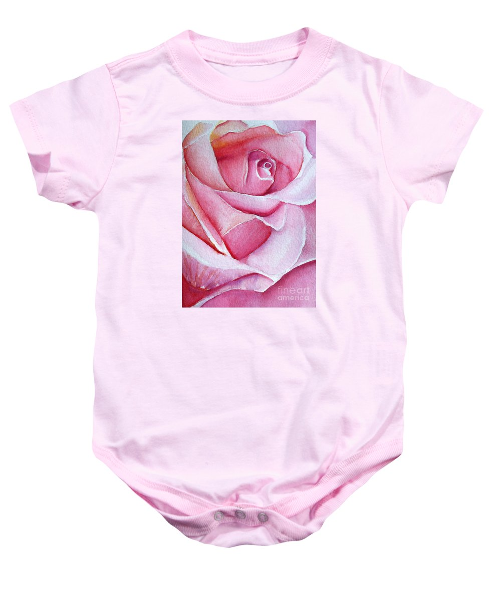 Rose Baby Onesie featuring the painting A Rose For You by Allison Ashton