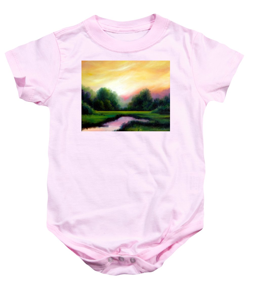 Clouds Baby Onesie featuring the painting A Spring Evening by James Christopher Hill