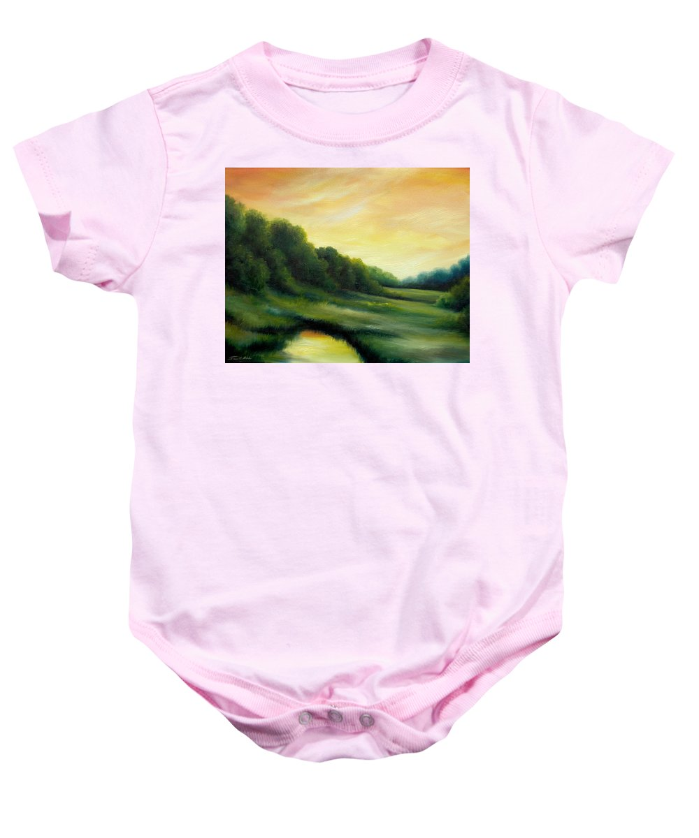 Clouds Baby Onesie featuring the painting A Spring Evening Part Two by James Christopher Hill