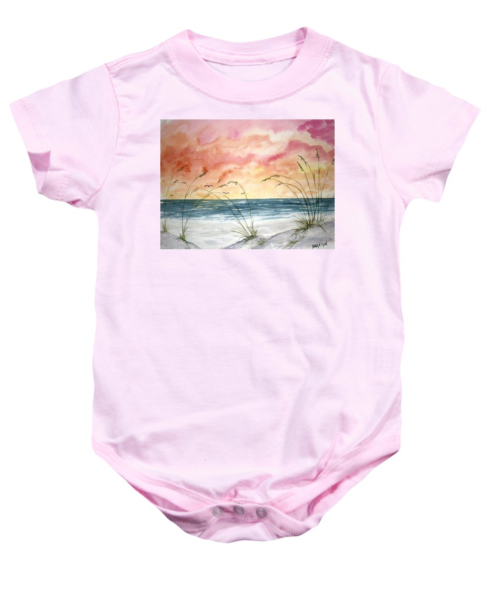 Abstract Baby Onesie featuring the painting Abstract Beach Painting by Derek Mccrea