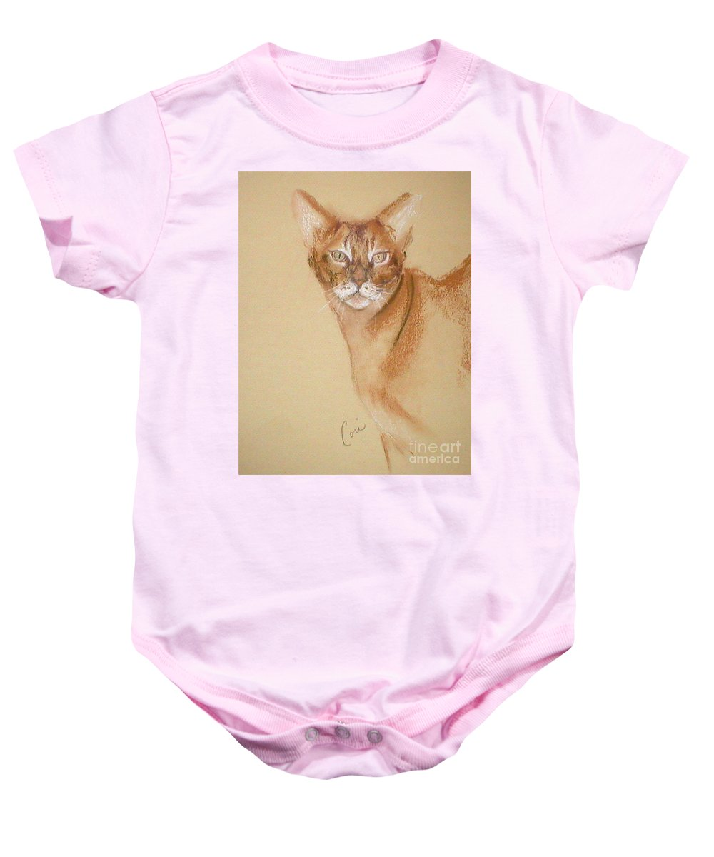 Pastel Baby Onesie featuring the drawing Abyssinian by Cori Solomon