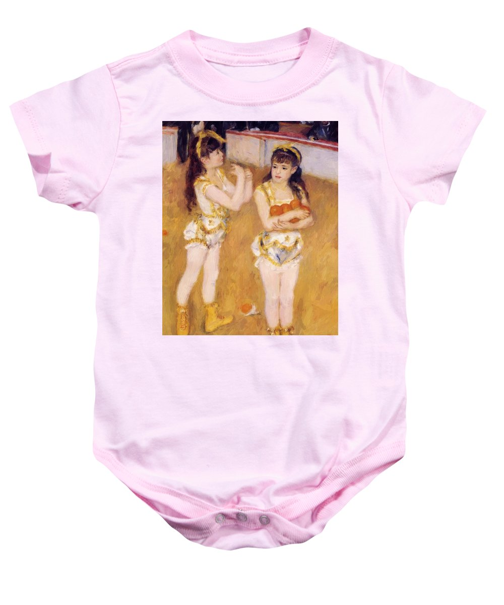 Acrobats Baby Onesie featuring the painting Acrobats At The Cirque Fernando Francisca And Angelina Wartenberg 1879 by Renoir PierreAuguste