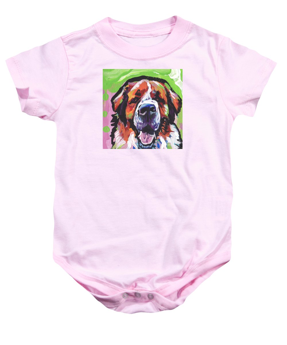 St Bernard Baby Onesie featuring the painting All Saints by Lea S