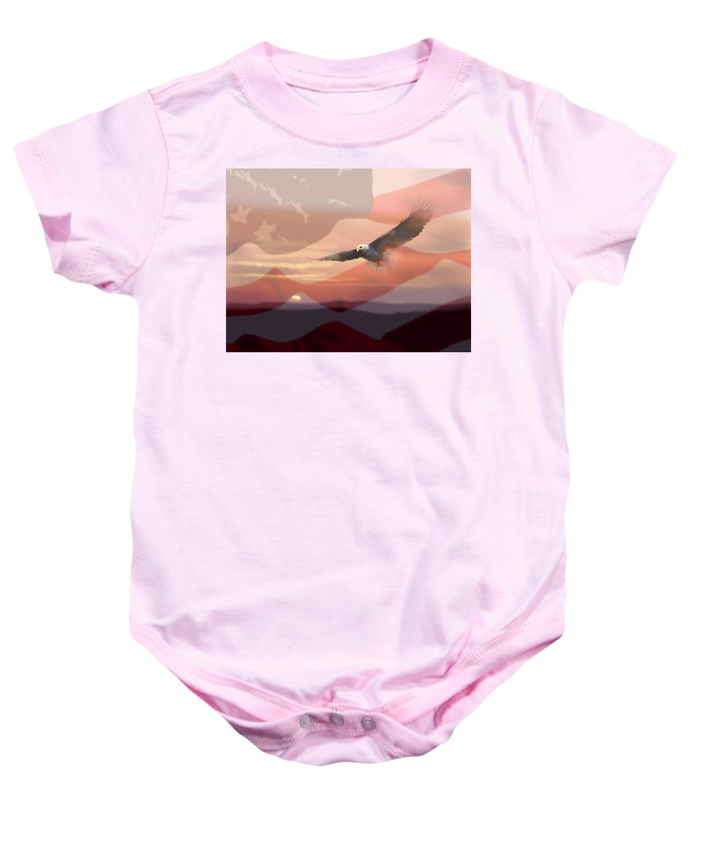 Eagle Baby Onesie featuring the painting And The Eagle Flies by Paul Sachtleben
