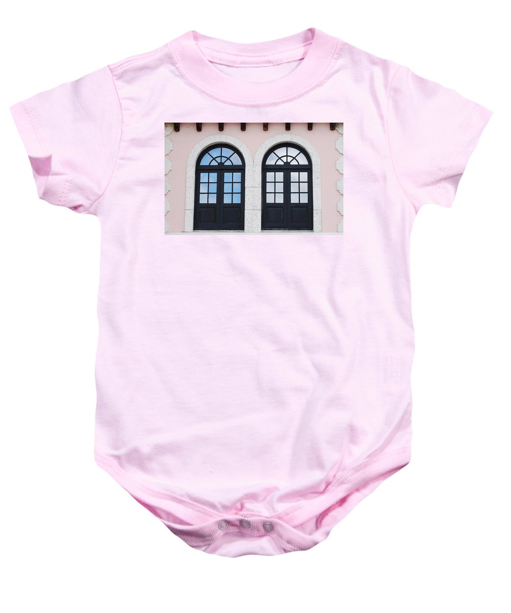 Windows Baby Onesie featuring the photograph Arch Windows by Rob Hans