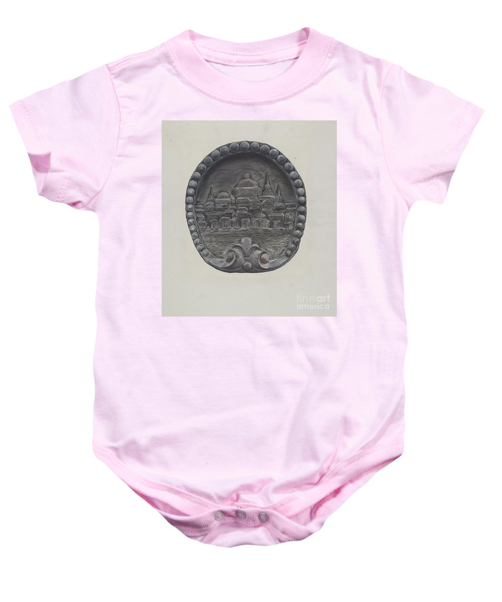 Baby Onesie featuring the drawing Architectural Ornament (city Of Boston) by Flora Merchant